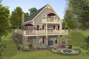 Cottage Style House Plan - 3 Beds 2 Baths 1592 Sq/Ft Plan #56-624 Exterior - Rear Elevation