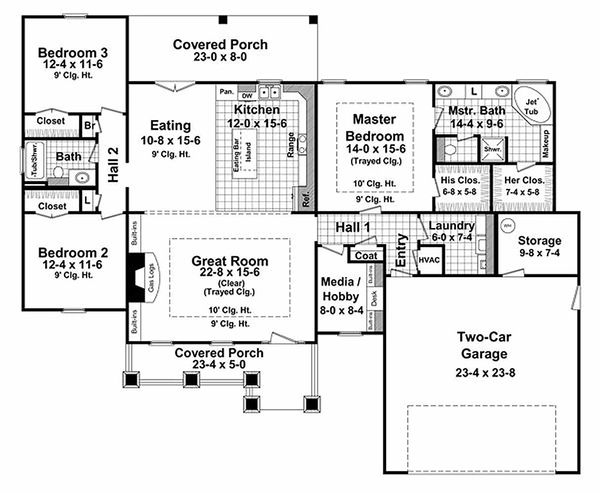Craftsman Floor Plan - Main Floor Plan Plan #21-267