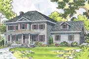 Colonial Style House Plan - 4 Beds 2.5 Baths 2305 Sq/Ft Plan #124-443 Exterior - Front Elevation