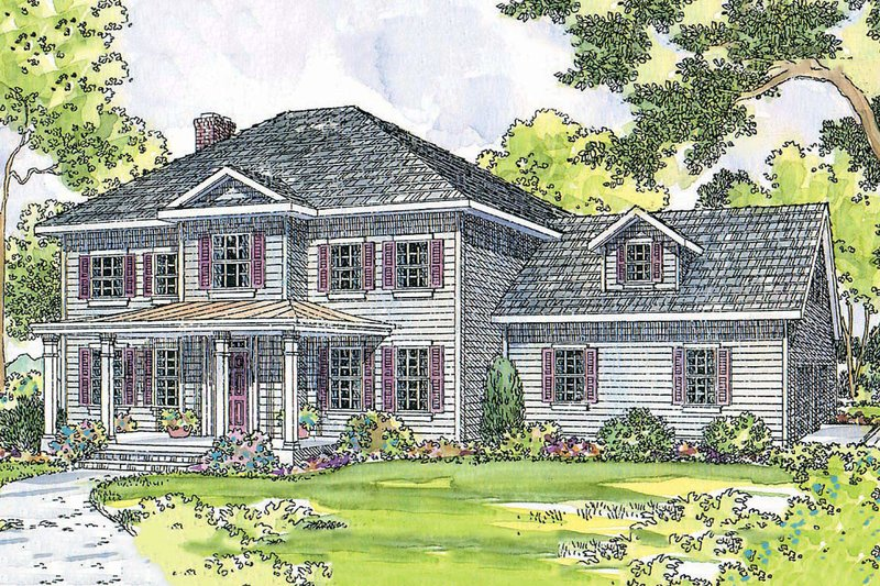 Colonial Exterior - Front Elevation Plan #124-443 - Houseplans.com