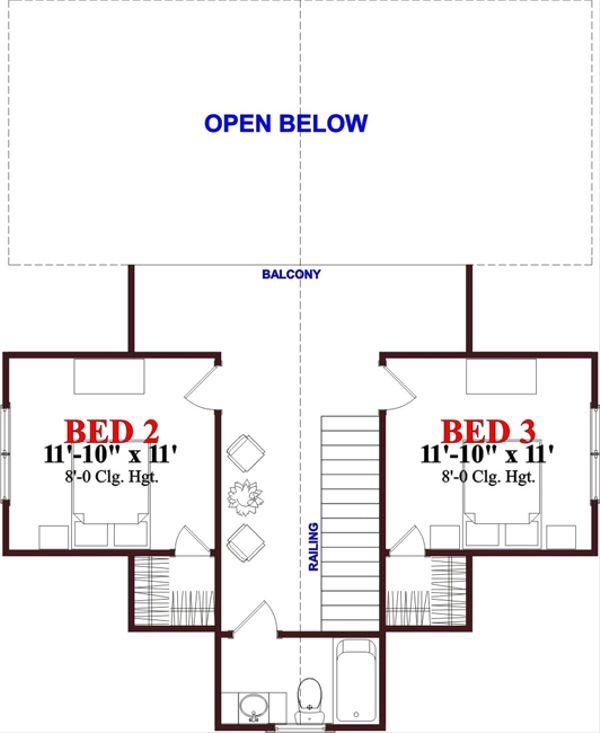 Cottage Floor Plan - Upper Floor Plan Plan #63-262