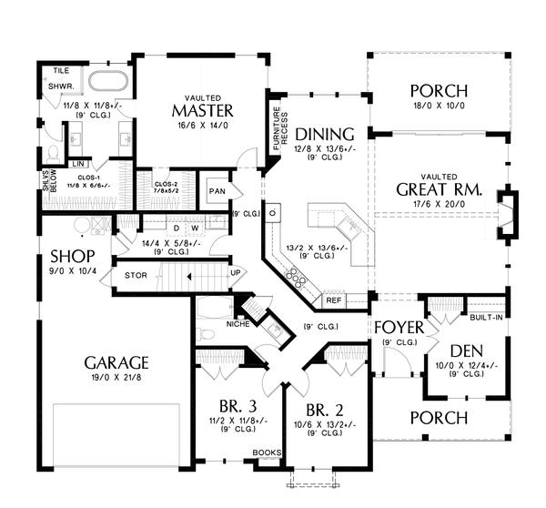 House Plan Design - Farmhouse Floor Plan - Main Floor Plan #48-988