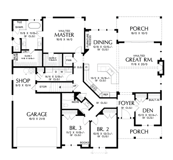 Farmhouse Floor Plan - Main Floor Plan #48-988