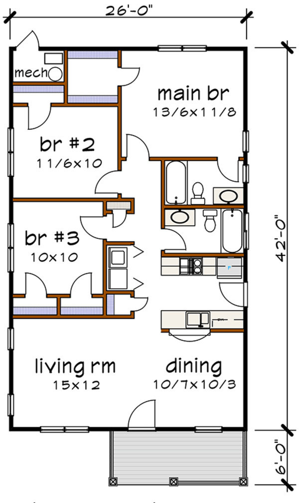 Bungalow Floor Plan - Main Floor Plan Plan #79-116