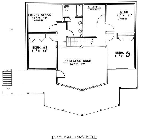 Bungalow Floor Plan - Lower Floor Plan Plan #117-541