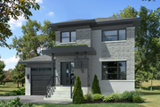 Contemporary Style House Plan - 3 Beds 1 Baths 1190 Sq/Ft Plan #25-4572 Exterior - Front Elevation