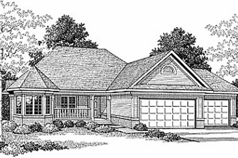 Traditional Style House Plan - 3 Beds 2 Baths 1835 Sq/Ft Plan #70-216 Exterior - Front Elevation