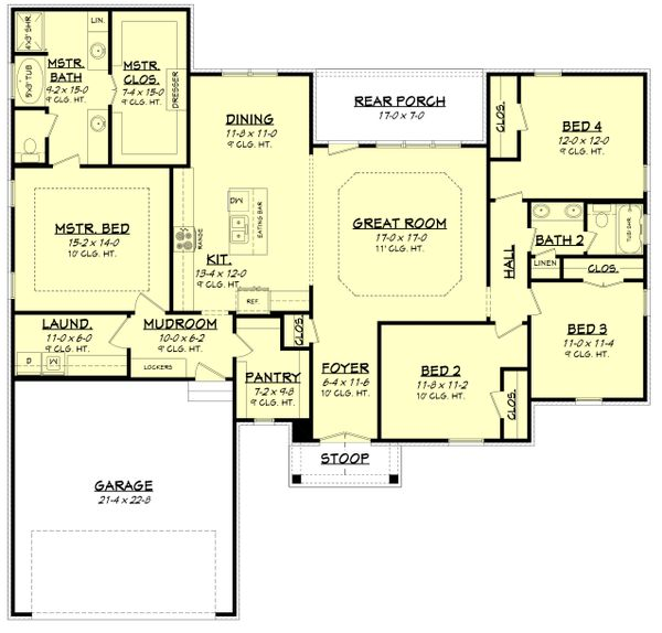 Country Floor Plan - Main Floor Plan Plan #430-173