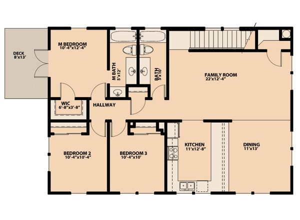 Traditional Floor Plan - Upper Floor Plan Plan #515-7