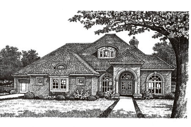 European Style House Plan - 3 Beds 2.5 Baths 2684 Sq/Ft Plan #310-271 Exterior - Front Elevation