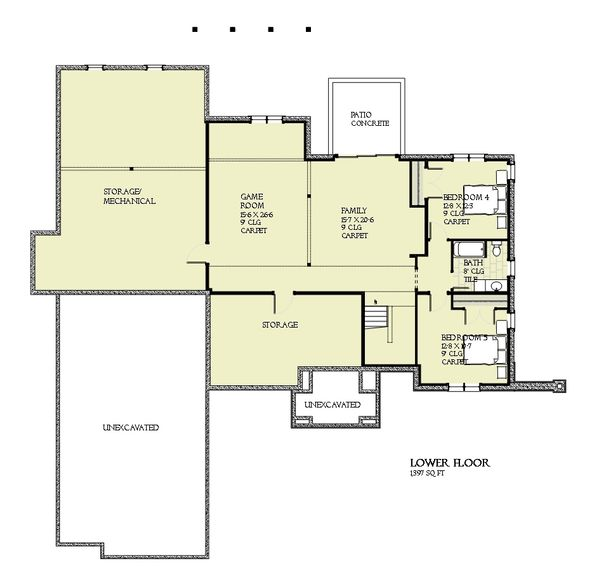 Tudor Floor Plan - Lower Floor Plan Plan #901-119