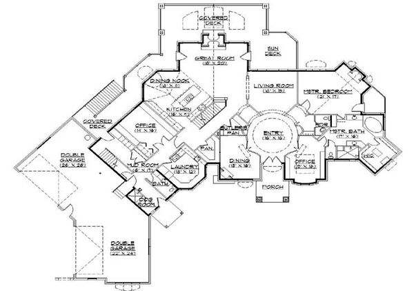 House Plan Design - European Floor Plan - Main Floor Plan #5-448