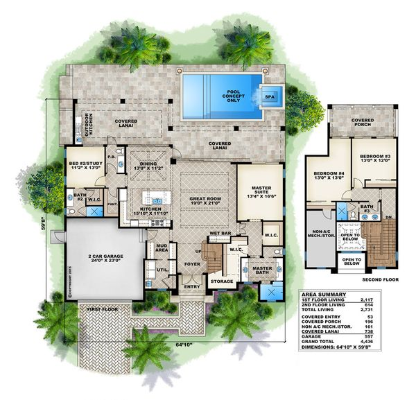 House Plan Design - Beach Floor Plan - Main Floor Plan #27-498