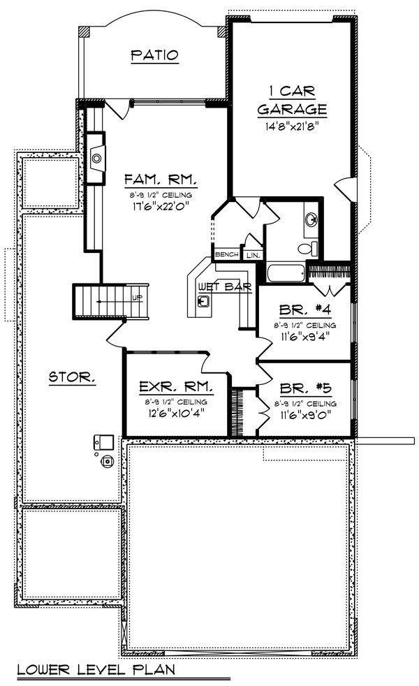 Craftsman Floor Plan - Lower Floor Plan #70-1433