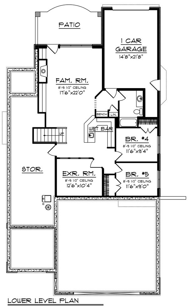 Craftsman Floor Plan - Lower Floor Plan #70-1433