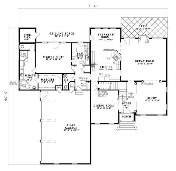 European Floor Plan - Main Floor Plan Plan #17-2271