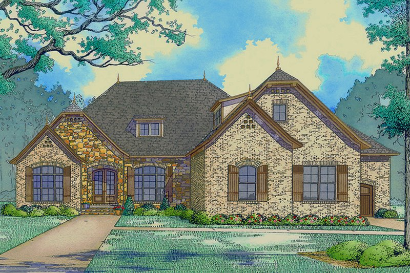 Ranch Style House Plan - 2 Beds 2.5 Baths 2409 Sq/Ft Plan #923-94 Exterior - Front Elevation