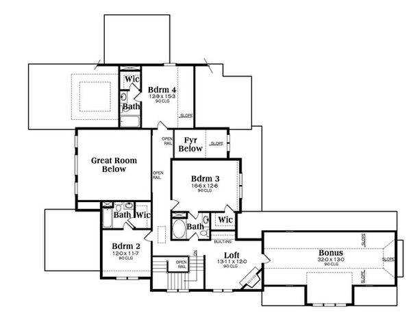 European Floor Plan - Upper Floor Plan Plan #419-304