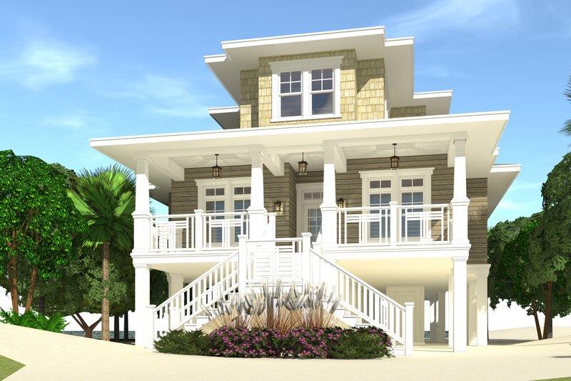 Beach Exterior - Front Elevation Plan #64-251
