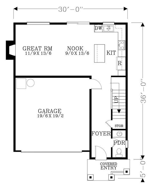 Architectural House Design - Craftsman Floor Plan - Main Floor Plan #53-548
