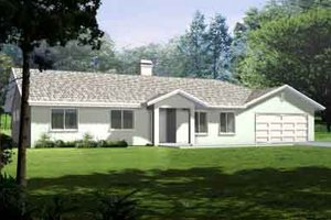 Ranch Exterior - Front Elevation Plan #1-1395
