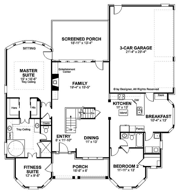 Traditional Floor Plan - Main Floor Plan Plan #56-540
