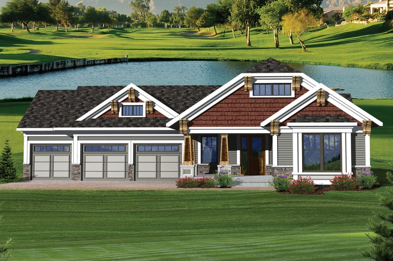 Craftsman Exterior - Front Elevation Plan #70-1045