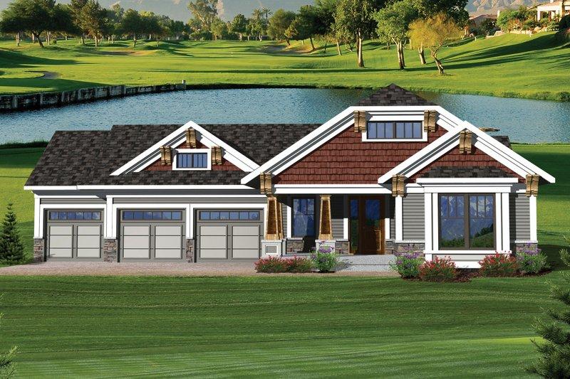 Craftsman Exterior - Front Elevation Plan #70-1045