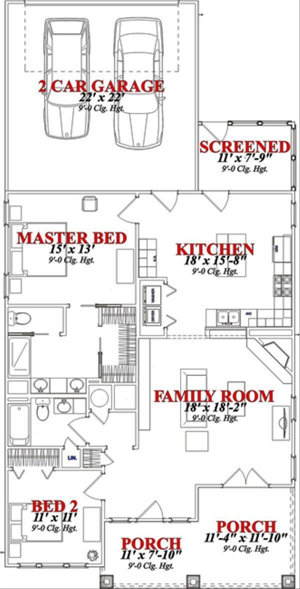 Craftsman Floor Plan - Main Floor Plan Plan #63-247