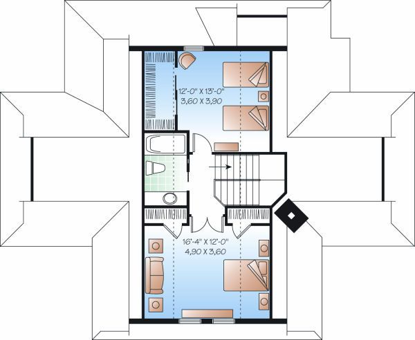 Country Floor Plan - Upper Floor Plan Plan #23-849