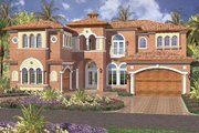 Mediterranean Style House Plan - 5 Beds 5.5 Baths 5547 Sq/Ft Plan #420-171 Exterior - Front Elevation