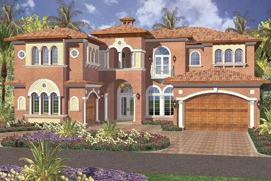 Mediterranean Exterior - Front Elevation Plan #420-171