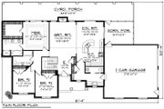 Ranch Style House Plan - 3 Beds 2.5 Baths 1807 Sq/Ft Plan #70-1191 Floor Plan - Main Floor Plan