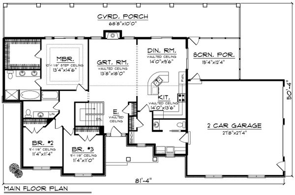 House Plan Design - Ranch Floor Plan - Main Floor Plan #70-1191