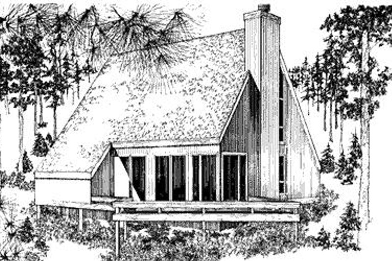 Cabin Style House Plan - 2 Beds 1.5 Baths 1039 Sq/Ft Plan #320-316