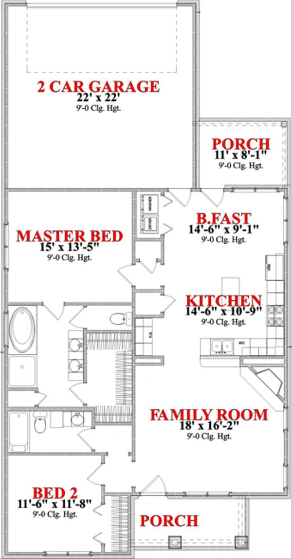 Bungalow Floor Plan - Main Floor Plan Plan #63-248