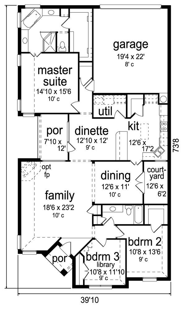 Traditional Floor Plan - Main Floor Plan Plan #84-587