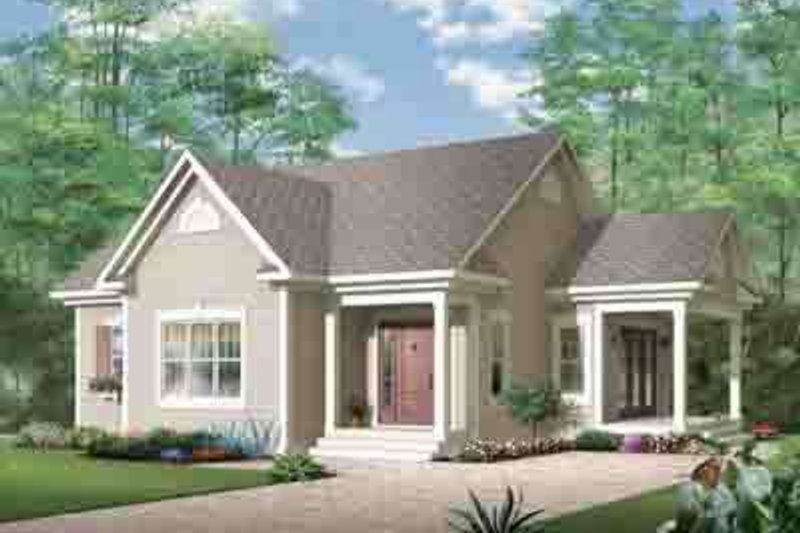 Cottage Style House Plan - 1 Beds 1 Baths 1108 Sq/Ft Plan #23-616 Exterior - Front Elevation