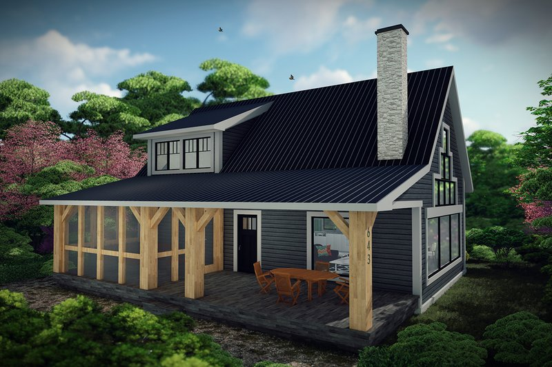 Cabin Exterior - Front Elevation Plan #70-1476