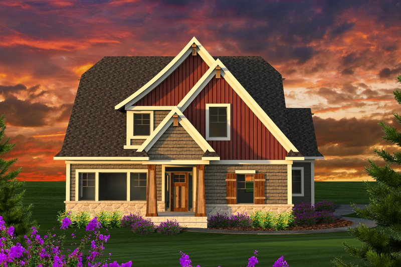 Dream House Plan - Craftsman Exterior - Front Elevation Plan #70-1229