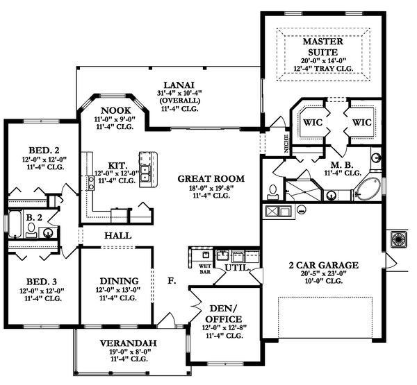 Ranch Floor Plan - Main Floor Plan Plan #1058-164