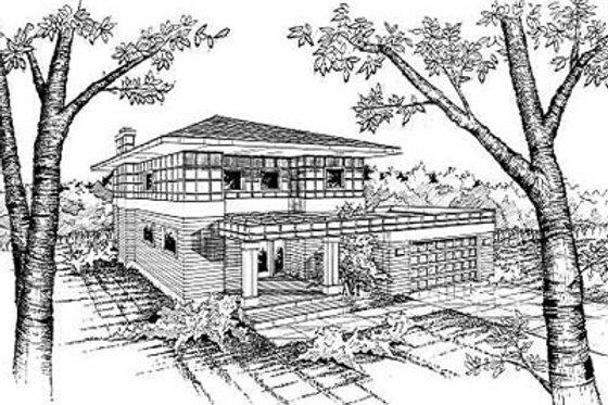Prairie Exterior - Front Elevation Plan #50-213