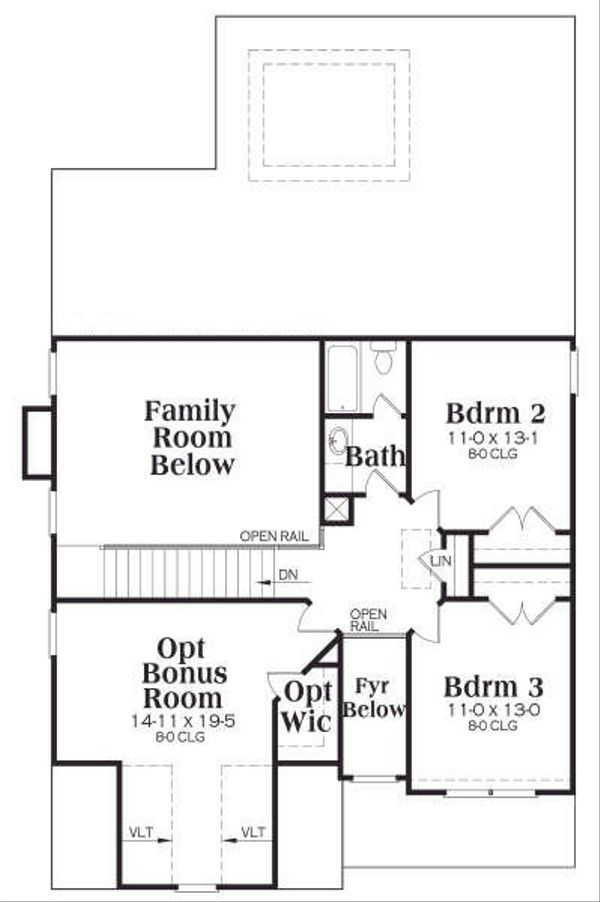 Traditional Floor Plan - Upper Floor Plan Plan #419-133