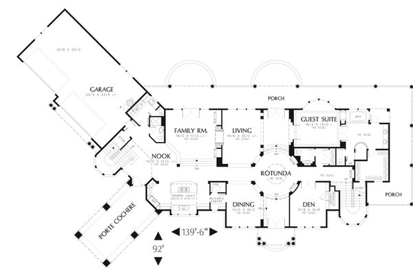 Craftsman Floor Plan - Main Floor Plan Plan #48-616