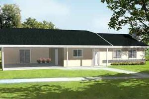 Ranch Exterior - Front Elevation Plan #1-1049
