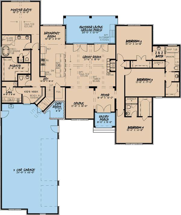 European Floor Plan - Main Floor Plan Plan #923-16