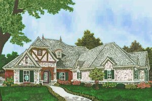European Exterior - Front Elevation Plan #310-1306
