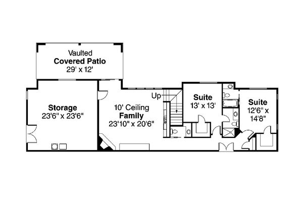 Craftsman Floor Plan - Lower Floor Plan Plan #124-753