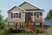 Beach Style House Plan - 2 Beds 1 Baths 856 Sq/Ft Plan #14-240 Exterior - Front Elevation