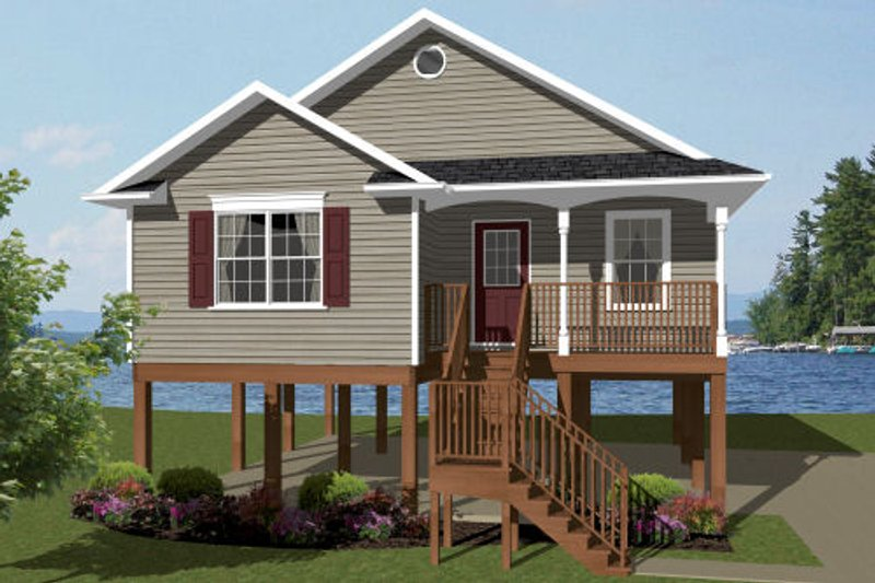 Architectural House Design - Beach Exterior - Front Elevation Plan #14-240